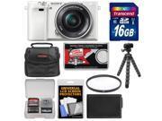 Sony Alpha A6000 Wi-Fi Digital Camera & 16-50mm Lens (White) with 16GB Card + Case + Battery + Flex Tripod + Filter Kit