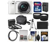 Sony Alpha A6000 Wi-Fi Digital Camera & 16-50mm Lens (White) with 32GB Card + Case + Battery/Charger + Tripod + Tele/Wide Lens Kit