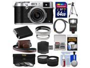 Fujifilm X100T Digital Camera (Silver) with 64GB Card + Case + Flash + Battery + Tripod + Tele/Wide Lenses Kit