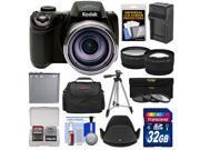 Kodak PixPro AZ521 Astro Zoom Digital Camera with 32GB Card + Battery & Charger + Case + Tripod + Filters + Tele/Wide Lens Kit