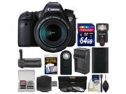 Canon EOS 6D Digital SLR Camera Body & EF 24-105mm IS STM Lens with 64GB Card + Flash + Battery & Charger + Grip + 3 Filters + Kit