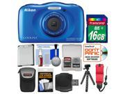 Nikon Coolpix S33 Shock & Waterproof Digital Camera (Blue) with 16GB Card + Case + Battery + Flex Tripod + Float Strap + Kit
