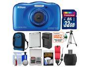 Nikon Coolpix S33 Shock & Waterproof Digital Camera (Blue) with 32GB Card + Case + Battery & Charger + Tripod + Kit