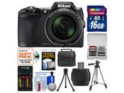 Nikon Coolpix L840 Wi-Fi Digital Camera (Black) with 16GB Card + Case + Batteries/Charger + Tripod + Kit