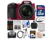 Nikon Coolpix L840 Wi-Fi Digital Camera (Red) with 32GB Card + Case + Batteries & Charger + Tripod + Strap + Kit