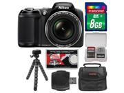 Nikon Coolpix L330 Digital Camera (Black) - Factory Refurbished with 8GB Card + Case + Flex Tripod + Kit