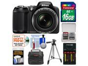 Nikon Coolpix L330 Digital Camera (Black) - Factory Refurbished with 16GB Card + Case + Batteries/Charger + Tripod + Kit