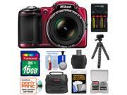 Nikon Coolpix L830 Digital Camera (Red) - Factory Refurbished with 16GB Card + Batteries & Charger + Case + Flex Tripod + Kit