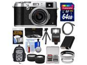 Fujifilm X100T Digital Camera (Silver) with 64GB Card + Backpack + Flash + Battery + Tripod + Tele/Wide Lenses Kit