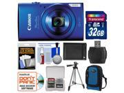 Canon PowerShot Elph 170 HS Digital Camera (Blue) with 32GB Card + Case + Battery + Tripod + Accessory Kit