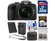 Nikon Coolpix P610 Wi-Fi Digital Camera (Black) with 32GB Card + Battery + Charger + Case + Sling Strap + Kit
