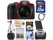 Nikon Coolpix P610 Wi-Fi Digital Camera (Red) with 32GB Card + Battery + Case + Tripod + Accessory Kit