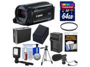 Canon Vixia HF R60 8GB Wi-Fi 1080p HD Video Camcorder with 64GB Card + Hard Case + LED Light + Microphone + Battery & Charger + Tripod Kit