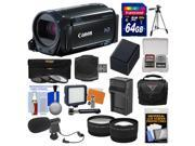Canon Vixia HF R60 8GB Wi-Fi 1080p HD Video Camcorder with 64GB Card + Case + LED Light + Mic + Battery & Charger + Tripod + Tele/Wide Lens Kit