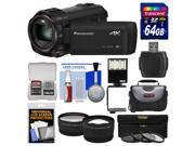 Panasonic HC-VX870 4K Ultra HD Wi-Fi Video Camera Camcorder with 64GB Card + Case + LED Light & Bracket + 3 Filters + Tele/Wide Lens Kit