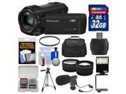 Panasonic HC-VX870 4K Ultra HD Wi-Fi Video Camera Camcorder with 32GB Card + Case + LED Light + Microphone + Tripod + Filter + Tele/Wide Lens Kit