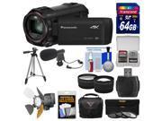 Panasonic HC-VX870 4K Ultra HD Wi-Fi Video Camera Camcorder with 64GB Card + Case + LED Light + Microphone + Tripod + Filters + Tele/Wide Lens Kit