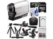 Sony Action Cam HDR-AS200V Wi-Fi HD Video Camera Camcorder with 32GB Card + Bike Handlebar, Helmet, Suction Cup & Chest Mounts + Battery + Case Kit