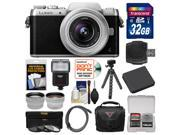 Panasonic Lumix DMC-GF7 Wi-Fi Digital Camera & 12-32mm Lens (Black/Silver) with 32GB Card + Case + Flash + Battery + Flex Tripod + Tele/Wide Lens Kit