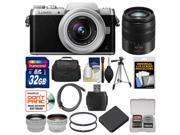 Panasonic Lumix DMC-GF7 Wi-Fi Digital Camera & 12-32mm Lens (Black/Silver) with 45-150mm Lens + 32GB Card + Case + Battery + Tripod + Tele/Wide Lens Kit