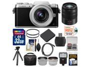 Panasonic Lumix DMC-GF7 Wi-Fi Digital Camera & 12-32mm Lens (Black/Silver) with 45-150mm Lens + 32GB Card + Case + Flash + Battery + Tripod + Tele/Wide Lens Kit