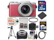 Panasonic Lumix DMC-GF7 Wi-Fi Digital Camera & 12-32mm Lens (Pink/Silver) with 32GB Card + Case + Battery + Tripod + Filter + Kit