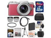 Panasonic Lumix DMC-GF7 Wi-Fi Digital Camera & 12-32mm Lens (Pink/Silver) with 32GB Card + Case + Battery + Tripod + Filter + Tele/Wide Lens Kit