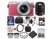 Panasonic Lumix DMC-GF7 Wi-Fi Digital Camera & 12-32mm Lens (Pink/Silver) with 45-150mm Lens + 32GB Card + Case + Battery + Tripod + Tele/Wide Lens Kit