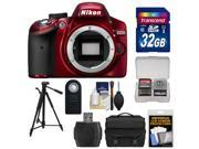 Nikon D3200 Digital SLR Camera Body (Red) - Factory Refurbished with 32GB Card + Case + Tripod + Remote + Kit