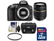 Nikon D5300 Digital SLR Camera Body (Black) - Factory Refurbished with Tamron 18-200mm Zoom Lens + 32GB Card + Case + Filter Kit