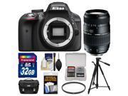 Nikon D3300 Digital SLR Camera Body (Black) - Factory Refurbished with Tamron 70-300mm Lens + 32GB Card + Case + Tripod + Filter + Kit