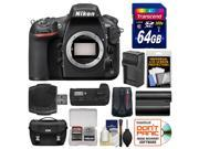Nikon D810 Digital SLR Camera Body - Factory Refurbished with 64GB Card + Case + Battery & Charger + Grip + GPS Adapter + Kit
