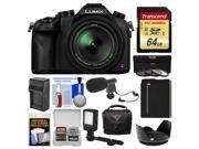 Panasonic Lumix DMC-FZ1000 4K QFHD Wi-Fi Digital Camera with 64GB Card + Case + LED Light + Microphone + Battery/Charger + 3 Filter Kit