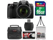 Nikon Coolpix P530 Digital Camera (Black) - Factory Refurbished with 16GB Card + Case + Accessory Kit