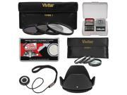 Vivitar 3-Piece Multi-Coated HD Filter Set (67mm UV/CPL/ND8) & 4 Macro Filter Set + Lens Hood + Accessory Kit