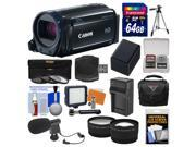 Canon Vixia HF R600 1080p HD Video Camcorder (Black) with 64GB Card + Case + LED Light + Mic + Battery & Charger + Tripod + Tele/Wide Lens Kit