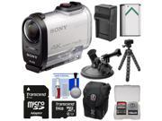 Sony Action Cam FDR-X1000V Wi-Fi 4K HD Video Camera Camcorder with 64GB Card + 2 Helmet & Flat Surface Mounts + Battery + Charger + Case + Tripod Kit
