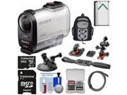 Sony Action Cam FDR-X1000V Wi-Fi 4K HD Video Camera Camcorder with 64GB Card + 2 Helmet, Flat & Suction Cup Mounts + Battery + Backpack + Kit