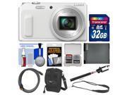 Panasonic Lumix DMC-ZS45 Wi-Fi Digital Camera (White) with 32GB Card + Case + Battery + Selfie Stick Monopod + Sling Strap Kit