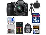 Fujifilm FinePix S9900W Wi-Fi Digital Camera with 32GB Card + Batteries & Charger + Backpack + Flex Tripod + Kit