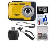 Bell & Howell Splash WP10 Shock & Waterproof Digital Camera (Yellow) with 16GB Card + Selfie Stick Monopod + Sling Strap + Kit