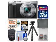 Panasonic Lumix DMC-ZS50 Wi-Fi Digital Camera with Eye Viewfinder (Silver) with 32GB Card + Case + Battery + Flex Tripod + Kit