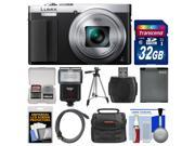 Panasonic Lumix DMC-ZS50 Wi-Fi Digital Camera with Eye Viewfinder (Silver) with 32GB Card + Case + Flash + Battery + Tripod + HDMI Cable + Kit