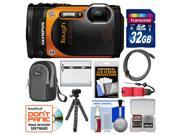 Olympus Tough TG-860 iHS Wi-Fi GPS Shock & Waterproof Digital Camera (Orange) with 32GB Card + Case + Battery + Flex Tripod + HDMI Cable + Float Strap + Kit