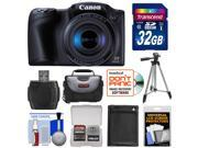 Canon PowerShot SX410 IS Digital Camera (Black) with 32GB Card + Battery + Case + Tripod + Kit