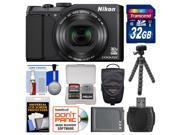 Nikon Coolpix S9900 Wi-Fi GPS Digital Camera (Black) with 32GB Card + Case + Battery + Flex Tripod + Accessory Kit