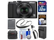 Nikon Coolpix S9900 Wi-Fi GPS Digital Camera (Black) with 32GB Card + Case + Battery & Charger + Selfie Stick Monopod + Sling Strap + Kit