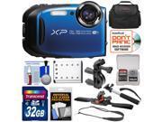 Fujifilm FinePix XP80 Shock & Waterproof Wi-Fi Digital Camera (Blue) with 32GB Card + Handlebar & Helmet Mounts + Battery + Case + Selfie Stick + Strap Kit