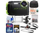 Fujifilm FinePix XP80 Shock & Waterproof Wi-Fi Digital Camera (Graphite Black) with 32GB Card + Handlebar & Helmet Mounts + Battery + Case + Selfie Stick + Strap Kit