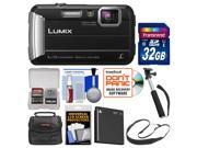 Panasonic Lumix DMC-TS30 Tough Shock & Waterproof Digital Camera (Black) with 32GB Card + Case + Battery + Selfie Stick Monopod + Sling Strap Kit